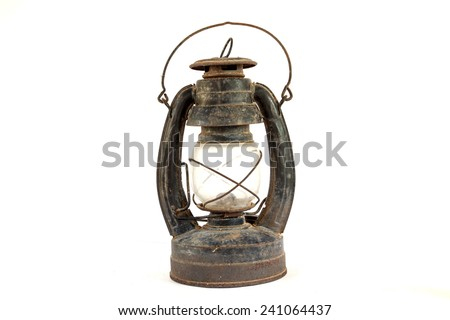 The Paraffin lamp and Old dusty oil lamp on white background - stock photo