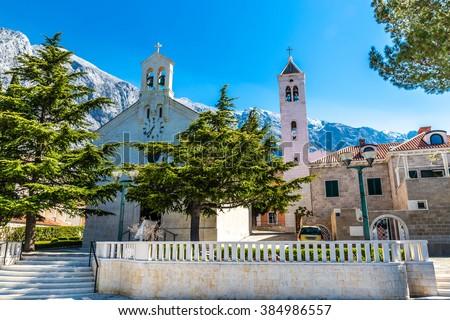 The Parish Church of St. Nikola (Nicholas) - Baska Voda, Makarska, Dalmatia, Croatia - stock photo