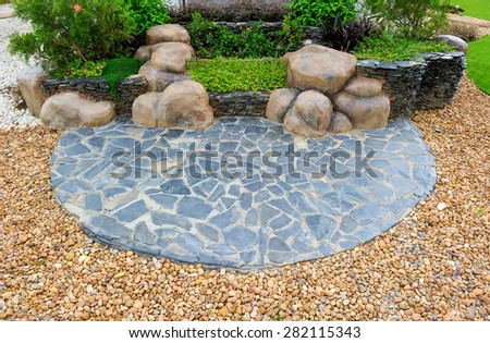 The park is decorated with stone. - stock photo