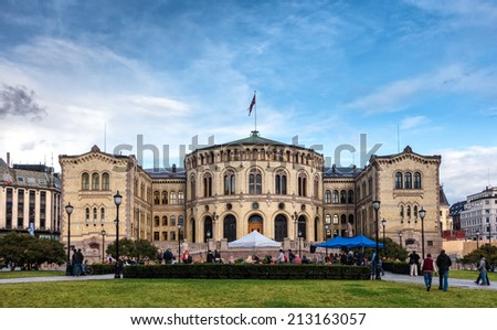 The Parliament building storting in Oslo, Norway - stock photo