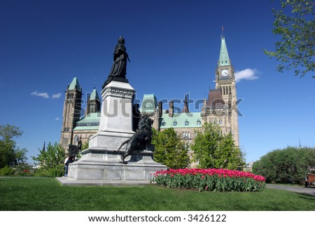 The Parliament of Canada from left side, Tulips Festival - stock photo