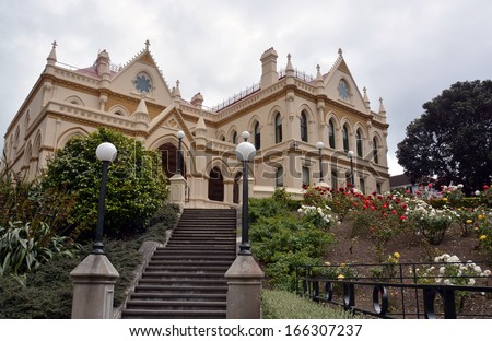 The Parliamentary Library Building built in 1898 and standing beside Parliament Building and the Beehive in Wellington, New Zealand. - stock photo
