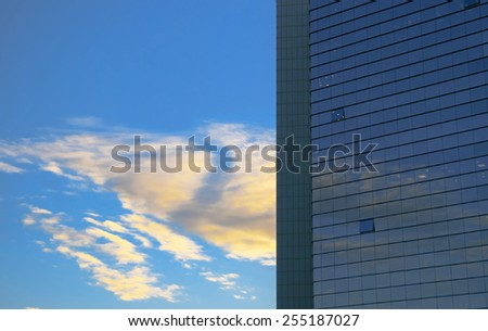 The part of modern high rise building in Tel Aviv - stock photo