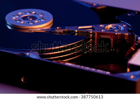 The part of the hard disk with the reading head  - stock photo