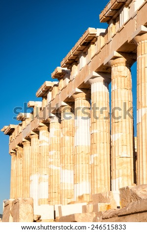 The Partenon is the most important surviving building of Classical Greece - stock photo
