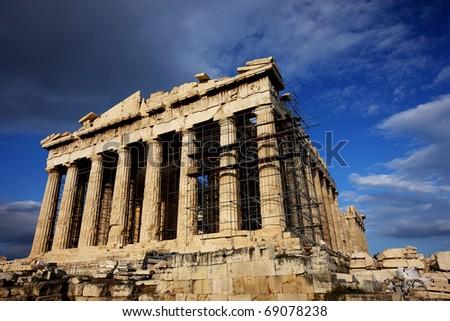 The Parthenon in the Acropolis of Athens - stock photo