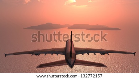The passenger plane on a background an  landscape - stock photo