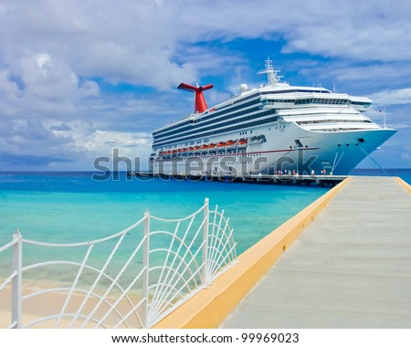 The passenger ship in port. - stock photo