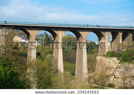 The Passerelle bridge (or Luxembourg Viaduct) in Luxembourg. - stock photo