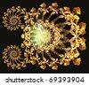 The pattern of gold roses - stock photo