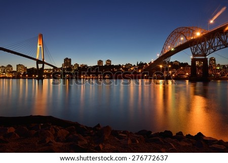 The Pattullo Bridge is a through arch bridge located in the Metro Vancouver, the SkyBridge is a cable-stayed bridge - stock photo