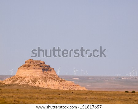The Pawnee Buttes are two prominent buttes located within the Pawnee National Grassland in Weld County, of northeastern Colorado.  - stock photo