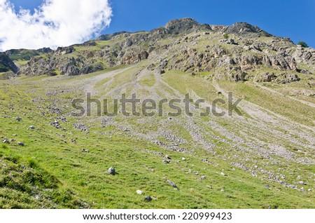 The peaks of the Italian Alps in Livigno - stock photo