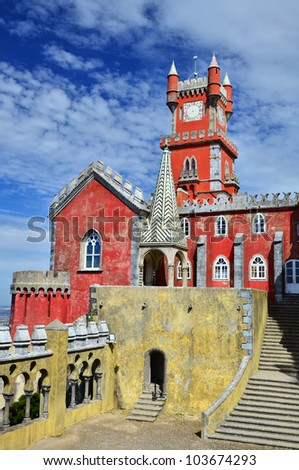 The Pena National Palace (Palacio da Pina) is the oldest palace inspired by European  Romanticism. It is located in Sintra, Portugal. - stock photo