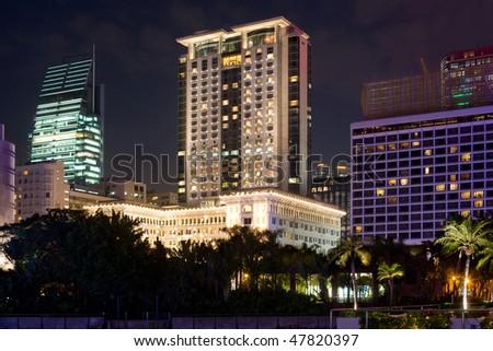 The Peninsula and Sheraton Luxury Hotels on the Kowloon waterfront, Tsimshatsui, Hong Kong, China, Asia - stock photo