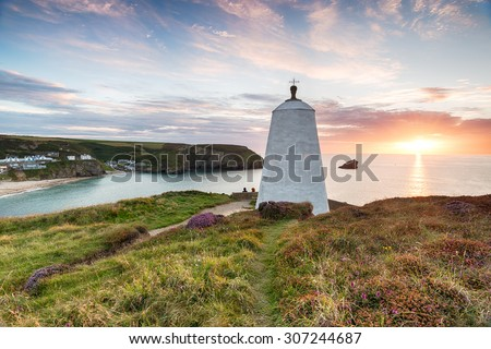 The Pepper Pot at Portreath on the Cornwall coast, once used as hut for fishermen to watch for shoals of Pilchard and as a daymark lighthouse - stock photo