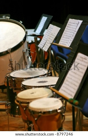 The percussion section at a symphonic concert - stock photo