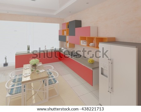 The perfect design of the kitchen in a modern style 3d rendering. - stock photo