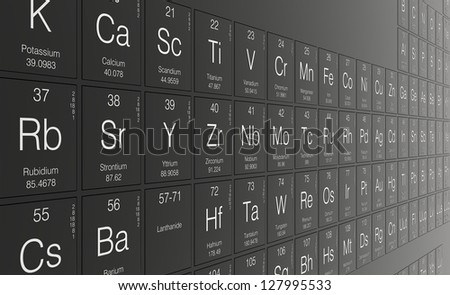 The periodic table of elements - stock photo