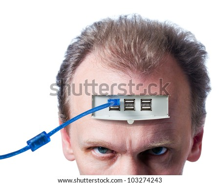 The person connected to the computer , isolated on white. - stock photo