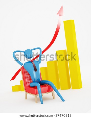 The person relaxing with going up graph - stock photo
