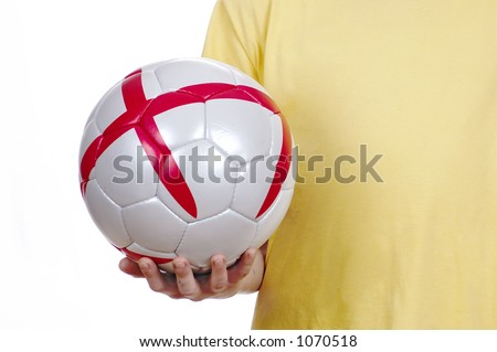 The person with a football in a hand. - stock photo