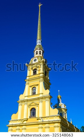 The Peter and Paul Cathedral in Saint Petersburg - stock photo
