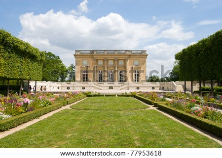 The Petit Trianon is a small chateau located on the grounds of the Palace of Versailles in Paris, France.The small castle builted by Gabriel for Louis XV. - stock photo