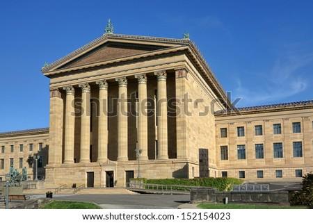 The Philadelphia Pennsylvania Museum of Art rear entrance Greek revival facade with plain pediment and columns - stock photo