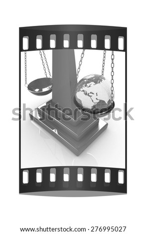 The philosophical concept: Earth lighter than vanity on a white background. The film strip - stock photo