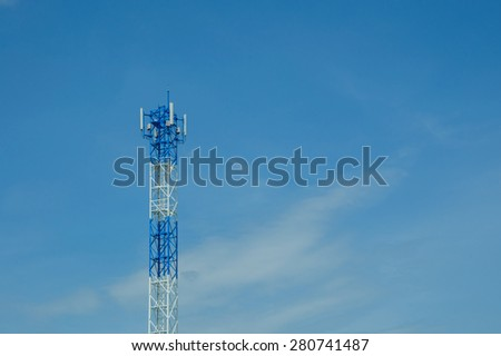 The phone transmission towers - stock photo