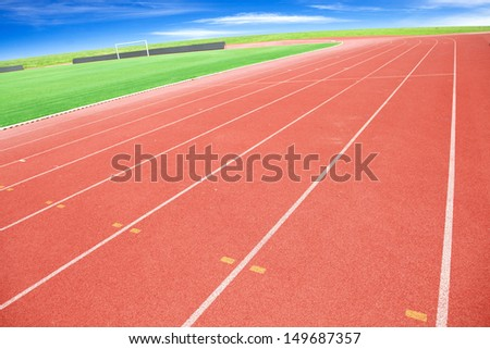 The photo is race track for athletics. - stock photo