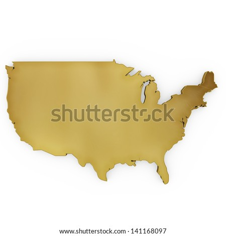 The photo realistic golden shape of USA isolated on white (series) . The rendering even has tiny scratches - stock photo
