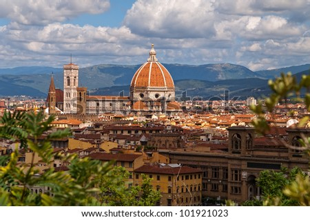 The photo shows a view of the cathedral in Florence - stock photo