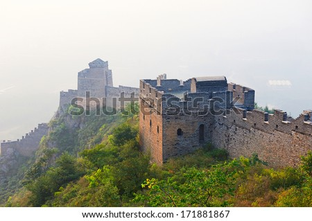 The photo taken  in China's Hebei province qinhuangdao city.Mount Jiaoshan scenic area is located 3 kilometers north of shanhaiguan .The time is October 5, 2013. - stock photo