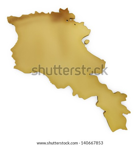 The photrealistic golden shape of Armenia isolated on white (series) . The rendering even has tiny scratches - stock photo