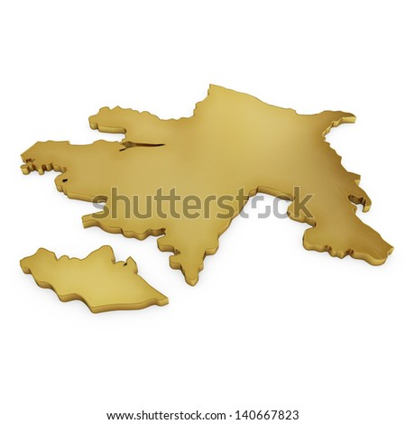 The photrealistic golden shape of Azerbaijan isolated on white (series) . The rendering even has tiny scratches - stock photo
