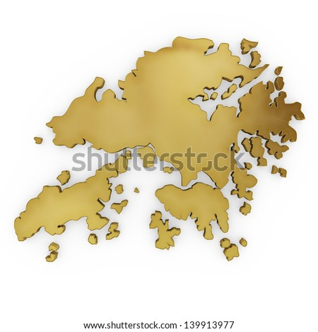 The photrealistic golden shape of Hong Kong isolated on white (series) . The rendering even has tiny scratches - stock photo