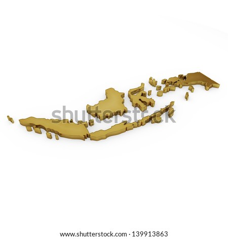 The photrealistic golden shape of Indonesia isolated on white (series) . The rendering even has tiny scratches - stock photo