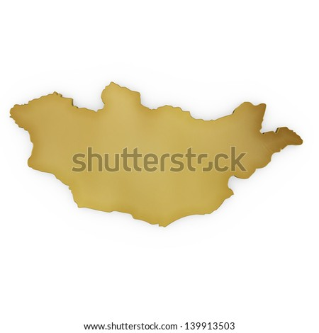 The photrealistic golden shape of Mongolia isolated on white (series) . The rendering even has tiny scratches - stock photo