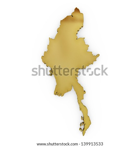 The photrealistic golden shape of Myanmar isolated on white (series) . The rendering even has tiny scratches - stock photo
