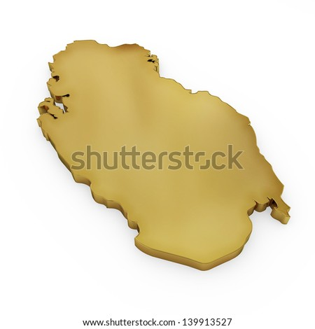 The photrealistic golden shape of Qatar isolated on white (series) . The rendering even has tiny scratches - stock photo