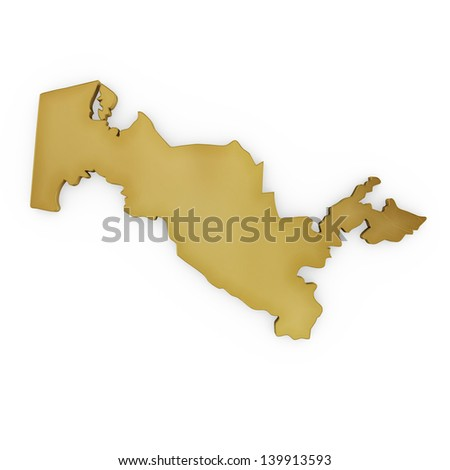 The photrealistic golden shape of Uzbekistan isolated on white (series) . The rendering even has tiny scratches - stock photo