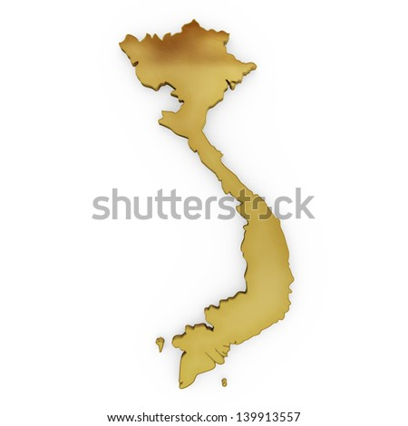 The photrealistic golden shape of Vietnam isolated on white (series) . The rendering even has tiny scratches - stock photo