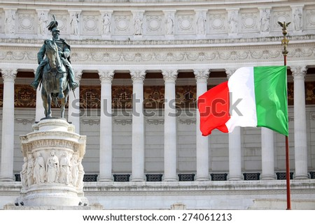The Piazza Venezia, Vittorio Emanuele, Monument for Victor Emenuel II, in Rome, Italy - stock photo