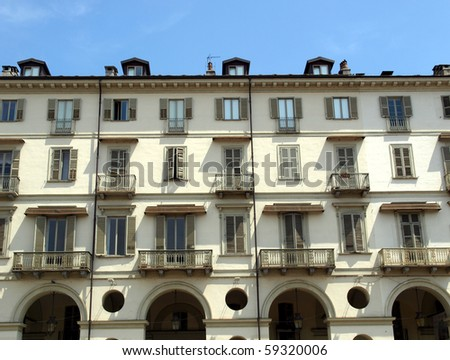The Piazza Vittorio Emanuele II square in Turin, Italy - stock photo