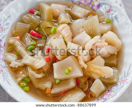 The Pickled of mustard leaf with chili - stock photo