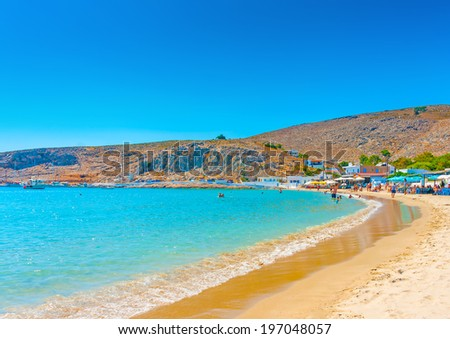 the pictorial beach of the Pserimos island in Greece - stock photo