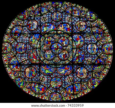 The pictorial Old Testament on the rose window of Dijon Notre Dame cathedral, France - stock photo