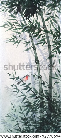 The picture painted in the traditional Japanese style. The little bird sat on a flexible stalk of bamboo in the wind in the bamboo grove - stock photo